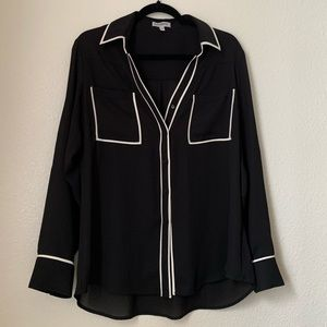 black with white outlines button up dress shirt